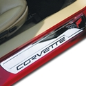 Corvette Door Sill Plates Billet Chrome with C6 Logo : 2005-2013 C6