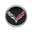 C7 Corvette Stingray Center Cap w/Crossed Flags Logo - Black