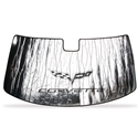 Corvette Windshield Sunshade with C6 Logo : 2005-2013 C6, Z06, ZR1 & Grand Sport