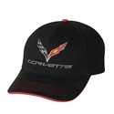 C7 Corvette Logo Premium Structured Cap : Black/Red Sandwich Bill - 2014+