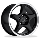 Corvette Wheels - 1996 Grand Sport Style Reproduction : Black with Machined Lip