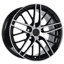2009 ZR1 Style Corvette R1 Wheels : Black with Machined Face