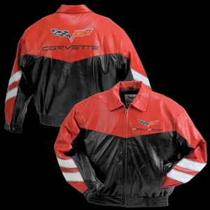 Corvette Grand Sport Leather Jacket Two Tone - Red/Black : 2010-2013
