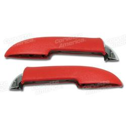 Corvette Armrests. With Chrome End Red: 1958