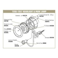 Corvette Park Light/Turn Signal Assembly: 1953-1955