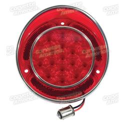 Corvette LED Tail Light W/SS Rim - Red: 1968-1973