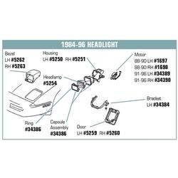 Corvette Headlight Bulb Retaining Cup.: 1984-1996