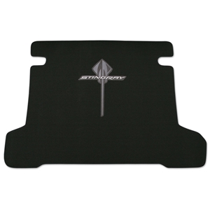 Corvette Premium Cargo Carpet Mat - Stingray Logo - Black : 2014 C7