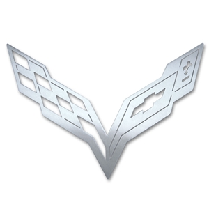 Corvette C7 Wall Hanging Crossed Flag Emblem - 15 and 36 inch