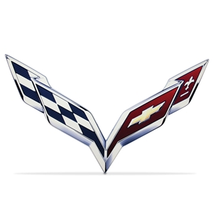 2014 C7 Corvette Stingray Crossed-Flag Emblem Metal Sign