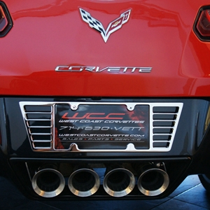 2014 C7 Corvette Stingray License Plate Frame - Billet Chrome : 2005-2014 C6, Z06, ZR1, Grand Sport & C7 Stingray