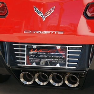 2014 C7 Corvette Stingray Open End License Plate Frame - Billet Chrome : 2005-2014 C6, Z06, ZR1, Grand Sport & C7 Stingray