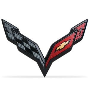 2014, 2015, 2016, 2017, C7 Corvette Stingray GM Crossed Flags Emblem : Carbon Flash