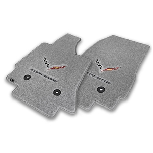 2014 C7 Corvette Stingray Floor Mats - Lloyds Mats with C7 Crossed Flags & Corvette Script : Greystone