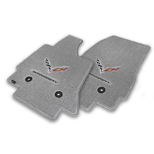 2014 C7 Corvette Stingray Floor Mats - Lloyds Mats with C7 Crossed Flags & Stingray Script : Greystone