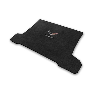 2014, 2015, 2016, 2017 C7 Corvette Stingray Cargo Mat Coupe - Lloyds Mats with Crossed Flags & Corvette Script : Black, Dark Grey