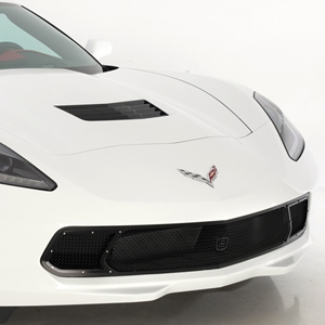 2014 C7 Corvette Stingray Front Grille - GT Corsa : Black w/Brushed Port Accent Trim/Fasteners