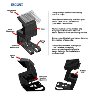 Corvette Radar Detector Bracket for Escort Passport Max Radar Detector : 2005-2013 C6