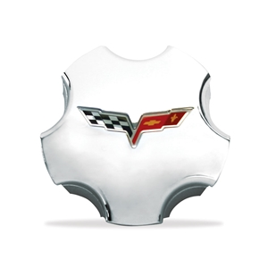 Corvette Wheel Center Cap - Chrome with C6 Logo GM : 2005-2011 C6