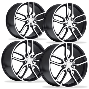 2014 C7 Corvette Z51 Style Reproduction Wheels (Set) : Black w/Machined Face
