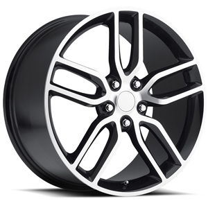 2014 C7 Corvette Z51 Style Reproduction Wheels : Black w/Machined Face