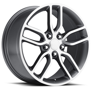 2014 C7 Corvette Z51 Style Reproduction Wheels : Grey w/Machined Face