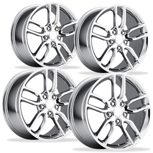 2014, 2015, 2016, 2017, C7 Corvette Z51 Style Reproduction Wheels (Set) : Chrome 17x8.5/18x9.5 1997-2004 C5