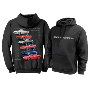 "Corvette Sweatshirt ""Nothing but Corvette"" Hoodie - Black : 1953-2013 C1, C2, C3, C4, C5 & C6"