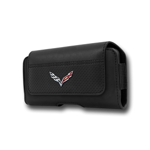 2014 2015 C7 Corvette Stingray Logo - Leather Cell Phone Belt Case : Black