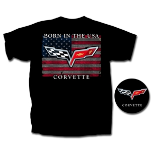 "Corvette T-Shirt - ""Born In The USA"" w/ C6 Crossed Flags : Black"