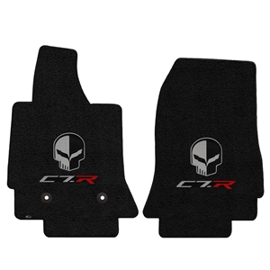 2014, 2015, 2016, 2017, C7 Corvette Stingray Floor Mats - Lloyds Mats with Corvette Racing's C7R & Jake Skull Logo : Black Jet 127 : Stingray, Z06