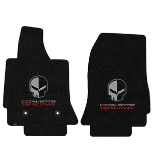 2014,2015,2016,2017, C7 Corvette Stingray Floor Mats - Lloyds Mats with Corvette Racing Script and Jake Skull Logo : Black Jet 127 : Stingray, Z06