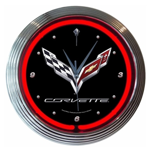 "Corvette Clock - 15"" Neon Wall Clock with Corvette & C7 Emblem"