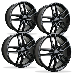 C7 Corvette GM Z51 Split Spoke Wheel Exchange - Gloss Black : 2014, 2015,2016,2017, - Front and Rear 19/20 inch: 2014
