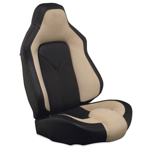 Corvette Sport Seat Foam & Seat Covers - Tan/Black : 2005 - 2013 C6, Z06, GS & ZR1
