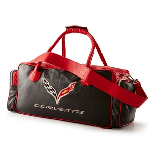 Corvette Black and Red C7 Duffel Bag with C7 Crossed Flags Logo 2014 2015