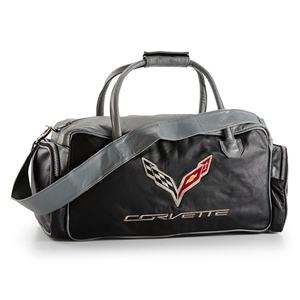 Corvette Black and Gray C7 Duffel Bag with C7 Crossed Flags Logo 2014 2015