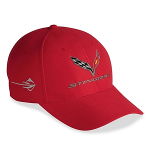 2014, 2015, 2016, 2017, C7 Corvette Stingray - Embroidered DuPont Performance Cap/Hat : Red 2014, 2015
