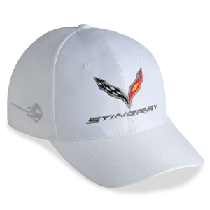 2014, 2015, 2016, 2017, C7 Corvette Stingray - Embroidered DuPont Performance Cap/Hat : White 2014, 2015