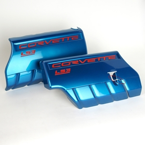 Corvette Fuel Rail Covers - 6 Speed Manual/Dry Sump - Jet Stream Blue : 2008-2013 C6 LS3 Grand Sport