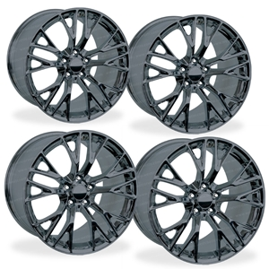 C7 Corvette Z06 GM Wheel Exchange (Set) : Black Chrome 19x10/20x12