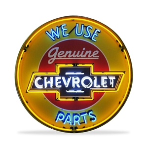 Corvette - Genuine Chevrolet Parts - Neon Sign in a Metal Can : Large 36 Inch Across