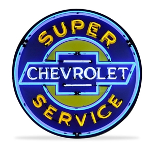 Corvette - Super Chevrolet Service - Neon Sign in a Metal Can : Large 36 Inch Across