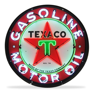 Corvette - Texaco Motor Oil - Neon Sign in a Metal Can : Large 36 Inch Across