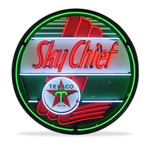 Corvette - Texaco Sky Chief - Neon Sign in a Metal Can : Large 36 Inch Across