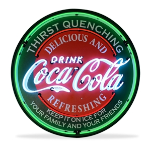 Corvette - Coca-Cola Evergreen - Neon Sign in a Metal Can : Large 36 Inch Across