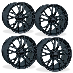 C7 Corvette Z06 Genuine GM Wheels (Set) : Gloss Black 19x10/20x12 2015, 2016