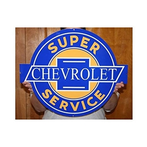 "1953-2017, C1, C2, C3, C4, C5, C5, C7 Corvette Chevrolet Super Service Metal Wall Sign - 23"" x 19"""