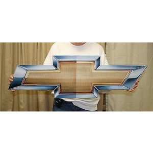 "1953-2017, C1, C2, C3, C4, C5, C5, C7 Corvette Chevrolet Bowtie Metal Wall Sign - 34"" x 11"""