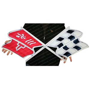 "Corvette Flags Metal Wall Sign - 32"" x 13"" : C3 1968-1972"
